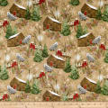 Rustic Charm Flannel Owl & Cabin Scenic Brown