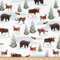 Rustic Charm Flannel Forest Animals White/Multi