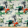 Telio Mirage Jacquard Digital Print Tree Floral White Coral Green