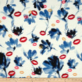 Telio Mirage Jacquard Digital Print Floral Kiss White Denim