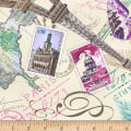 Timeless Treasures Bonjour Postcard Print Cream