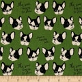 Kokka Black & White Bulldog Canvas Green