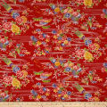 Kokka Japanese Modern Flower Dobby Canvas Red