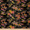 Kokka Japanese Modern Flower Dobby Canvas Black