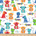 Cubby Bear Flannel Prints Woof Woof White