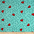 Double Brushed Jersey Knit Doodles and Hearts Mint