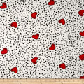 Double Brushed Jersey Knit Doodles and Hearts White