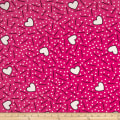 Double Brushed Jersey Knit Doodles and Hearts Fuchsia