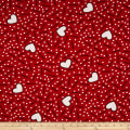 Double Brushed Jersey Knit Doodles and Hearts Red