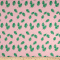Double Brushed Jersey Knit Tropical Leaves Pink