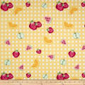 Double Brushed Jersey Knit Gingham Fruit Party Yellow