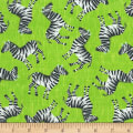 Timeless Treasures Jungle Boogie Tossed Zebra Lime