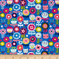 Andover/Makower Kitty Kitty Floral Blue