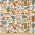 QT Fabrics Dan Morris Backcountry Small Camping Silhouettes Cream