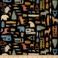 QT Fabrics Dan Morris Backcountry Small Camping Silhouettes Black