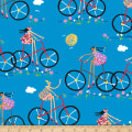 QT Fabrics City Gals Girls On Bikes Turquoise