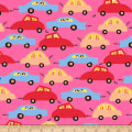 QT Fabrics City Gals Cars Hot Pink