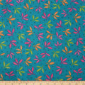 QT Fabrics Gypsy Leaf Spray Turquoise
