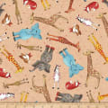 QT Fabrics Wild Things Tossed Animals Tan