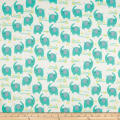 Playful Cuties Flannel 2 Elephants White