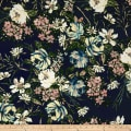 Double Brushed Poly Jersey Knit Floral Garden Blush on Navy