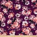 Double Brushed Poly Jersey Knit Blooming Roses Plum/Lilac