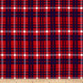 Double Brushed Poly Jersey Knit Plaid Red/Royal
