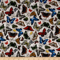 Frolicking Fields Tossed Butterflies Silver/Multi