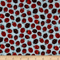 Frolicking Fields Tossed Lady Bugs Sky Blue/Multi