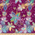 QT Fabrics Enchanted Floral Large Floral Plum