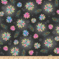 QT Fabrics Enchanted Floral Tossed Floral Black