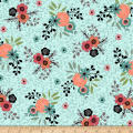 QT Fabrics Piece Of Cake Spaced Floral Medium Aqua