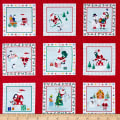 Andover/Makower Jolly Santa Labels Red