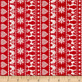 Andover/Makower Scandi 2018 Border Stripe Red