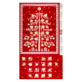 "Andover/Makower Scandi 2018 Scandi Advent Tree 24"" Panel Metallic Red"