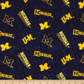 NCAA University of Michigan Flannel Distressed Logo Blue/Yellow