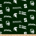 NCAA Michigan State University Mist Tossed Logos Green