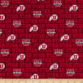 NCAA University of Utah Distressed Logo Allover Red