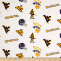 NCAA University of West Virginia Tossed Logos White