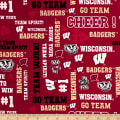 NCAA University of Wisconsin Logos Allover Metallic Glitter Red Metallic