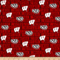 NCAA University of Wisconsin Distressed Allover Red