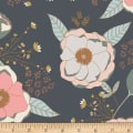 Art Gallery Sprinkled Peonies Sparkler Jersey Knit Slate Blue