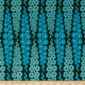 Art Gallery Loved To  Pieces Gladiolumns Deepbluem Rayon Challis Teal