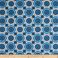 """108"""" Wide Traditional Quilts Circles Blue/Cream"""
