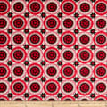 """108"""" Wide Traditional Quilts Circles Red/Cream"""