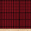 Winter Fleece Houndstooth Plaid Red