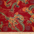 Trans-Pacific Textiles Asian Good Luck Dragon withGold Firecracker Red