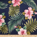 Trans-Pacific Textiles Tropical Hibiscus Leaves Navy