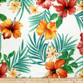 Trans-Pacific Textiles Tropical Flowers Wall White