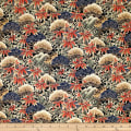 Trans-Pacific Textiles Asian Bamboo Leaves Black